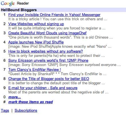 Mobile Site generated by Google Readers