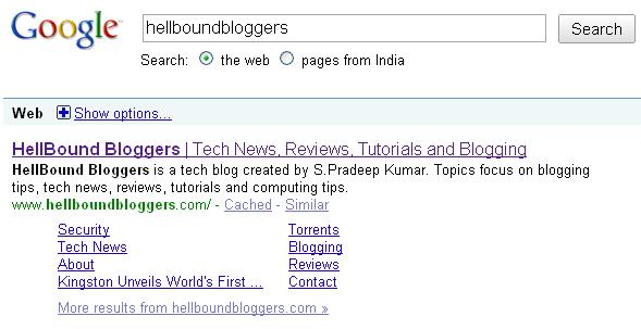 Google created 8 Sitelinks for HellBound Bloggers