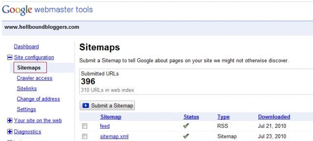 Webmaster Tools - Sitemap