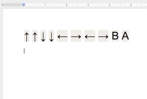 Google Docs Konami Code
