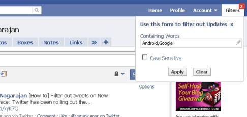 FB Filter Updates