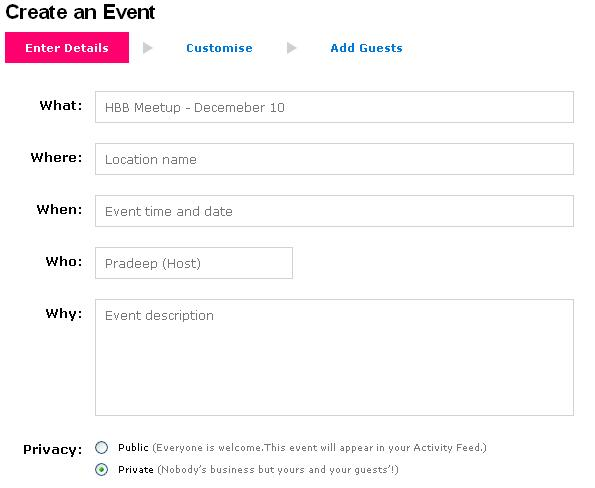 MySpace Event Details