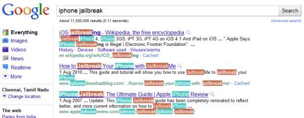 Google Toolbar keywords
