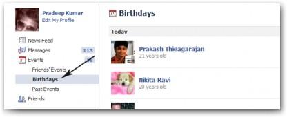 Events > Birthdays
