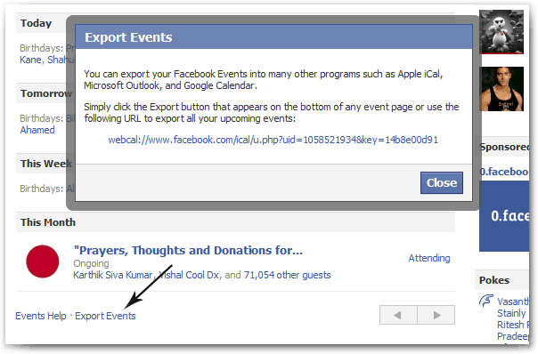 Facebook Export Events
