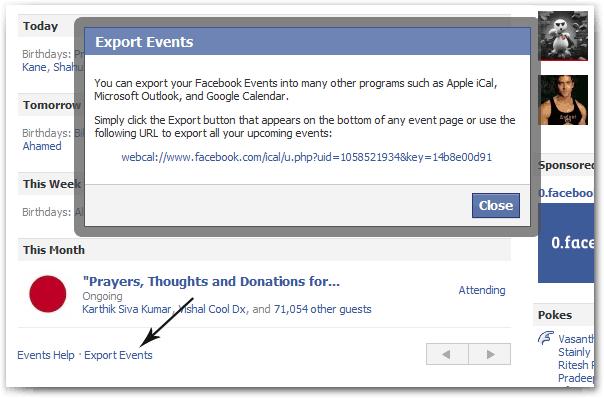 Facebook Export Events