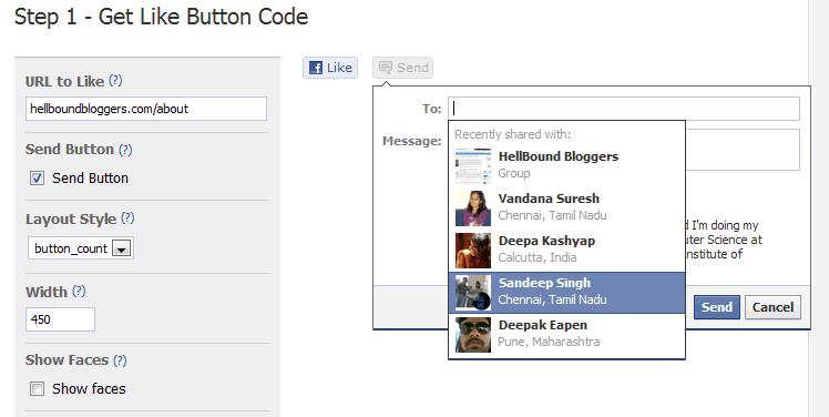 Add Send via Like Button