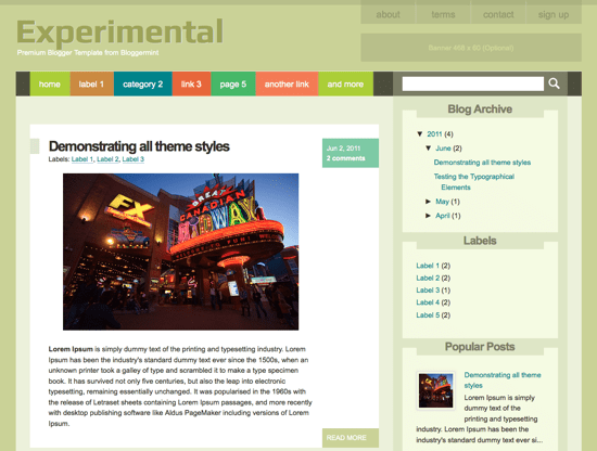 Experimental Blogger Template