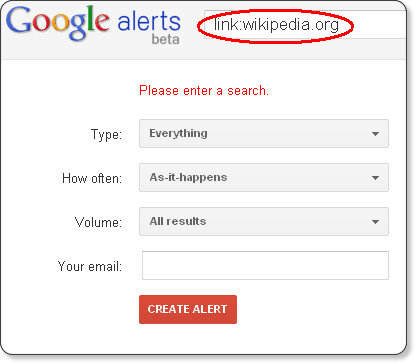 Create a Google Alert to get email updates when people link to your site