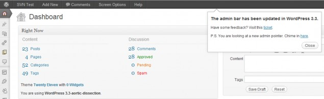 WordPress 3.3 all new pointers feature
