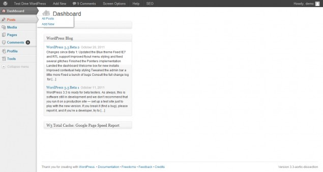 WordPress 3.3 flyout menus