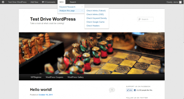 WordPress 3.3 new admin bar