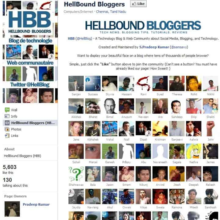 HBB facebook welcome page honors its fans