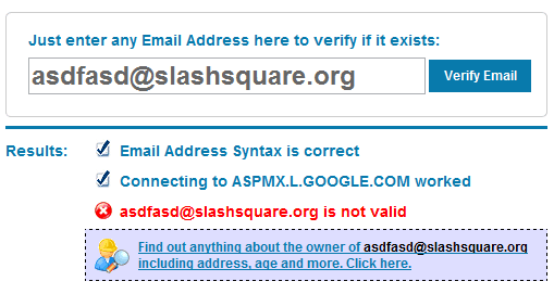 Email Address Given Is Not Valid