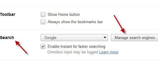 Manage Search Engines Settings