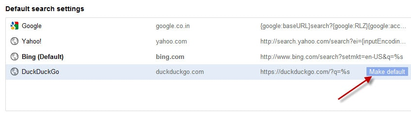 Default Search Engine Settings
