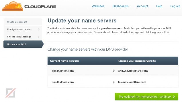 Cloudflare: Update Nameservers