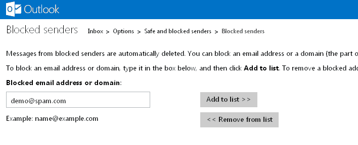block email address in outlook 2012