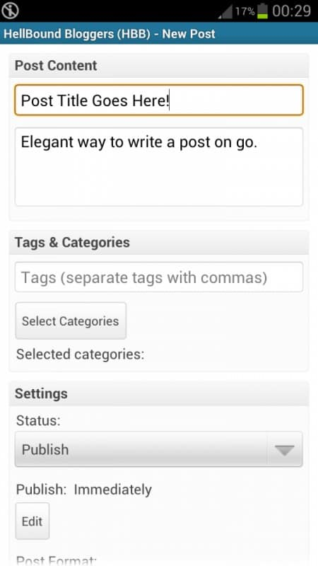 WordPress Android App - Writing Post