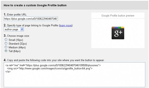 Google Plus Profile Button