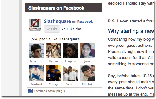Slashsquare Facebook Page Box