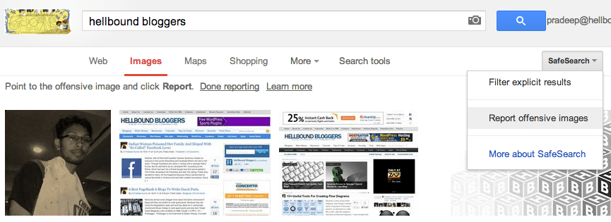 Report Offensive Image - Google