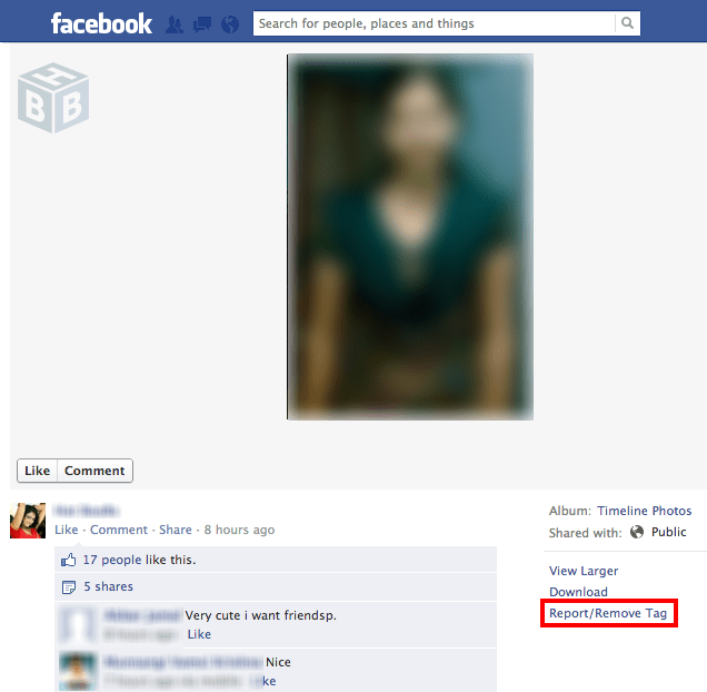 report fake photo faceboook