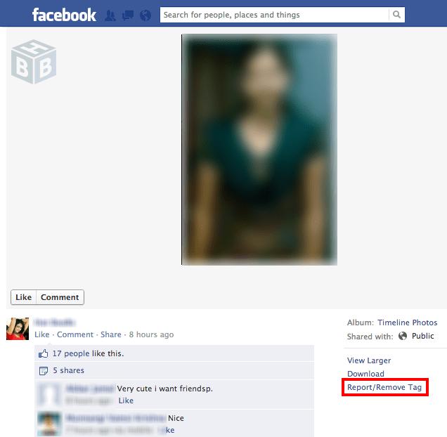 report fake photo faceboook