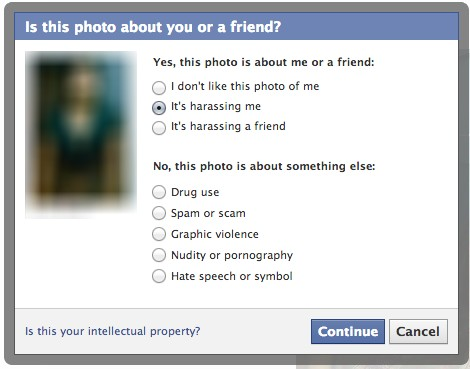 report harassing photo facebook