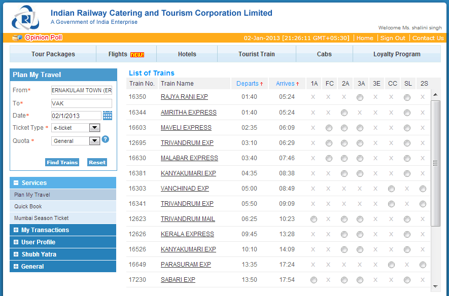 List of Trains - IRCTC