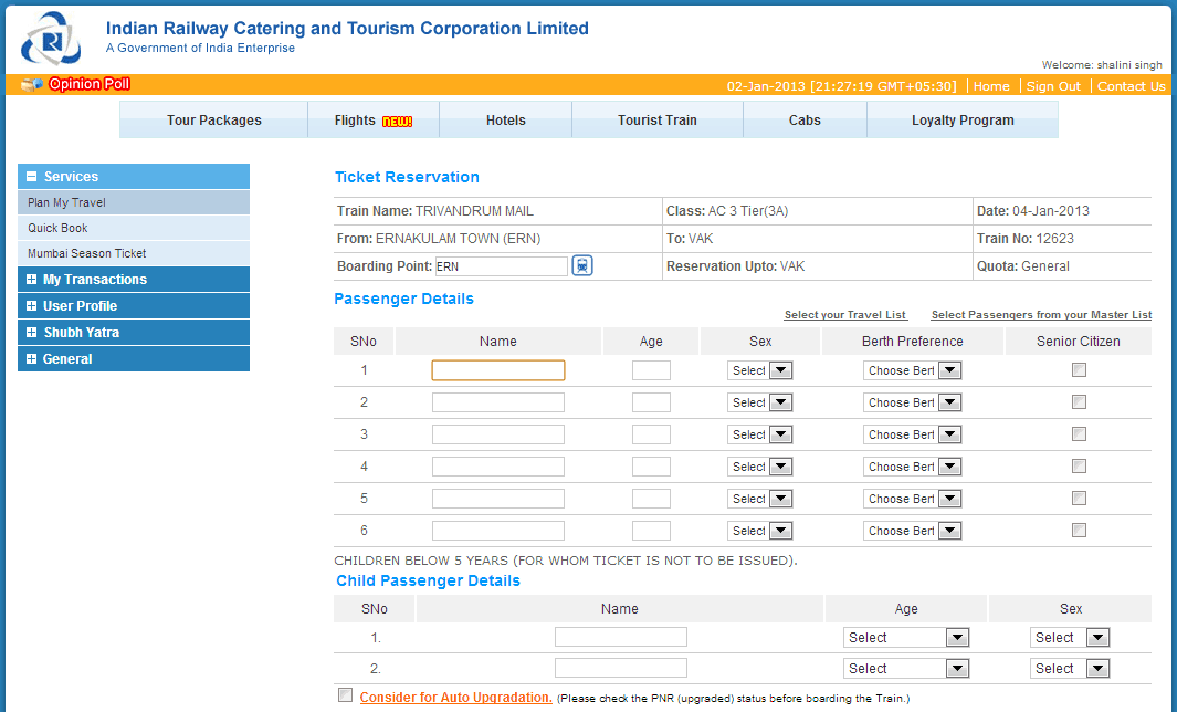 Ticket Resevation - IRCTC