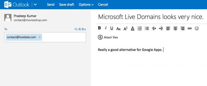Microsoft Live Domains Outlook Custom Email Address