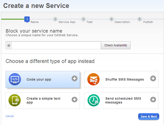 txtWeb - create a new service