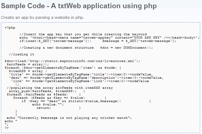 txtWeb - Sample Code