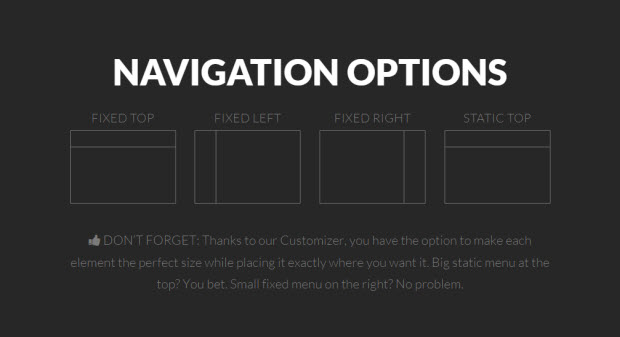 Theme X navigation options