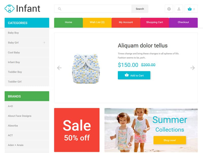 Infant (OpenCart Template)