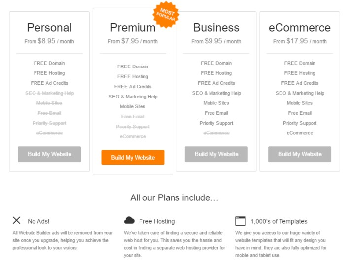 Website Builder Pricing