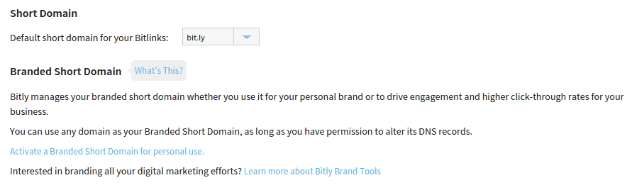 Branded Short Domain Options Bitly