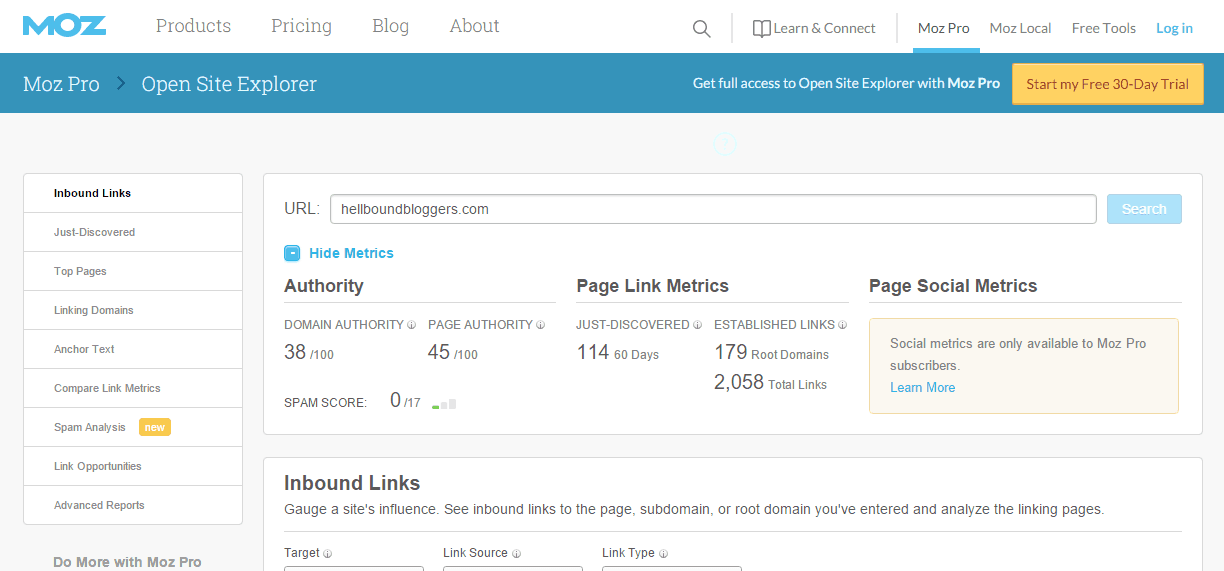 Check Domain Authority And Page Authority Of Website - Moz