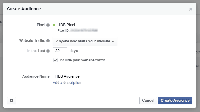 Facebook Ads Custom Audience Name Pixel Created