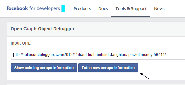Facebook Developers Debugger Fetch New Scrape Information