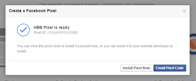 Facebook Pixel Created Install Email Code