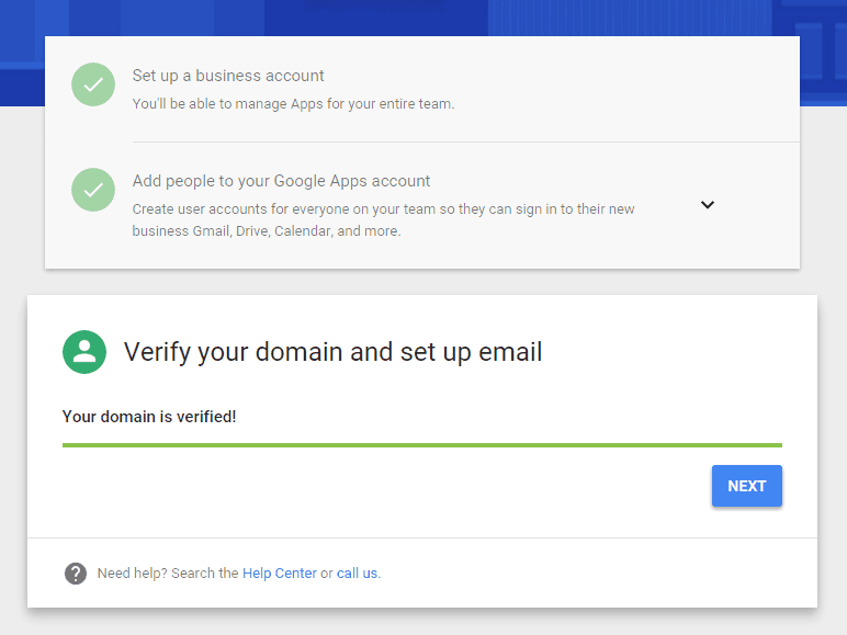 Google Apps Domain Verified
