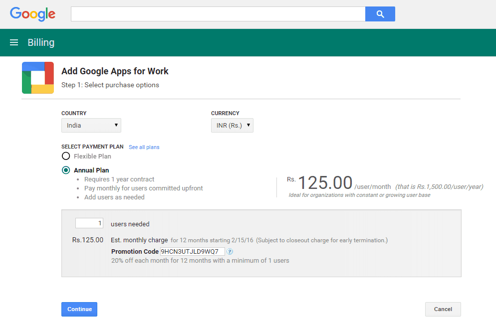 Google Apps Promotional Code