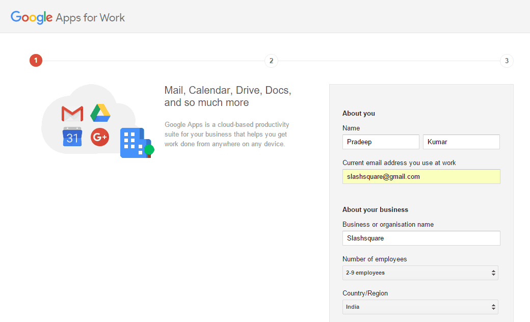 Google Apps for Work Signup