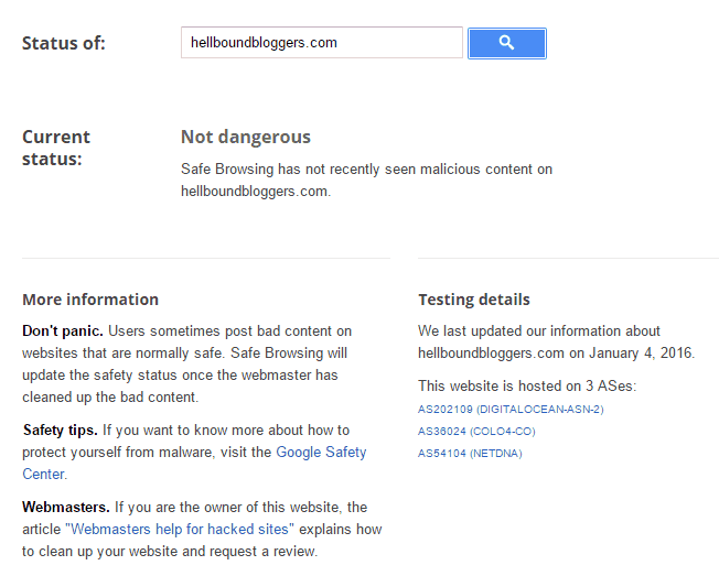 Google Safe Browsing Not Dangerous
