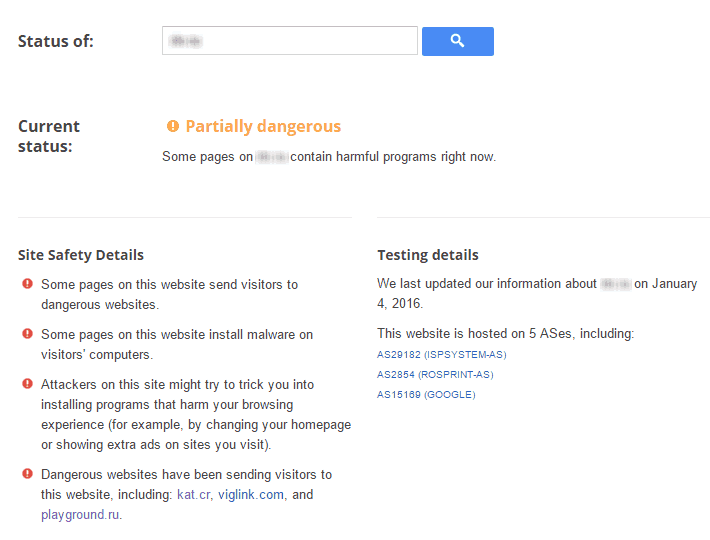 Google Safe Browsing Partially Dangerous