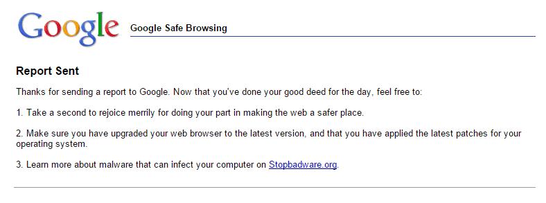 Google Safe Browsing Report Sent