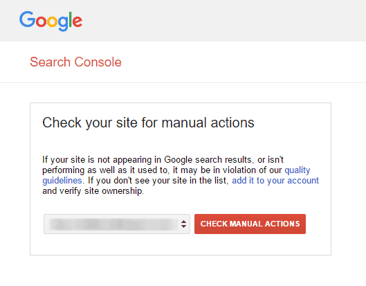 google webmaster manual actions