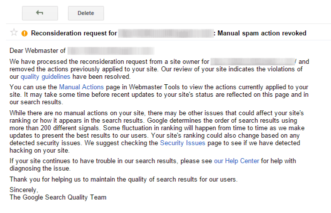 Google Search Console Webmaster Tools Manual Spam Action Revoked